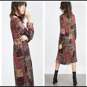 Zara Patchwork Boho Midi Dress